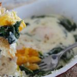 Creamy Shirred Eggs with Greens