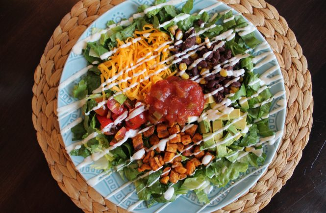 Easy Southwestern Salads with Cumin-Roasted Sweet Potato