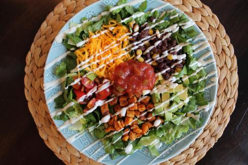 Southwestern Salads with Cumin-Roasted Sweet Potatoes
