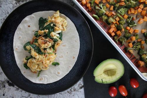 Salsa Scrambled Eggs (and the Best Ever Veggie Breakfast Burrito)