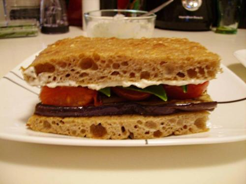 Grilled Eggplant and Tomato Sandwich