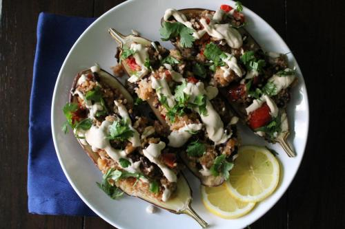 Couscous-Stuffed Eggplant with Tahini Sauce