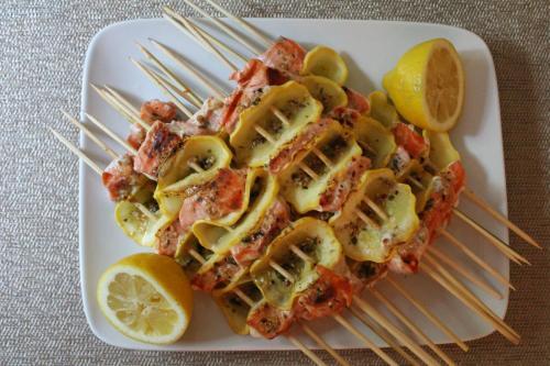 Salmon Squash Kebabs