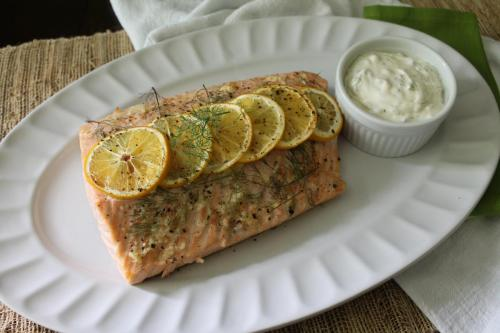 Roasted Salmon with Dilly Cream Sauce