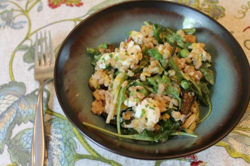 Citrusy Farro with Peas and Spring Onions