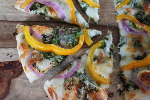 Kale, Pepper, and Onion White Pizza