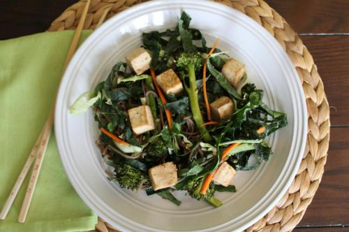Citrus Ginger Kale and Tofu Salad with Soba Noodles