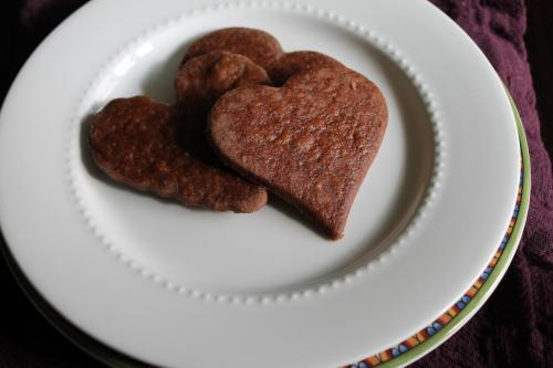 Chocolate Honey Shortbread Hearts