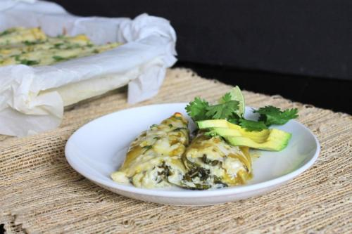 Cheesy Spinach and Green Chile Enchiladas