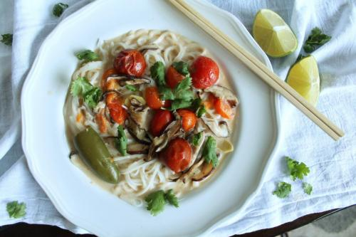 Lemongrass Coconut Noodles with Mushroom and Tomatoes