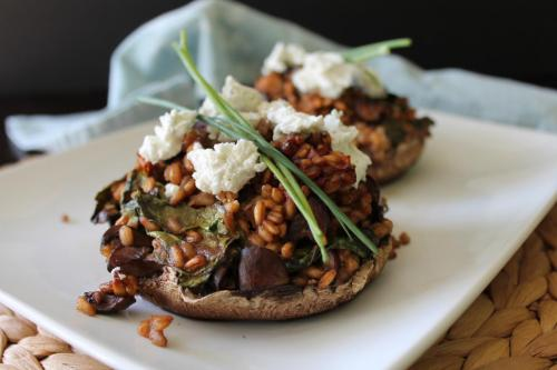 Farro-Stuffed Portabellas with Balsamic and Goat Cheese