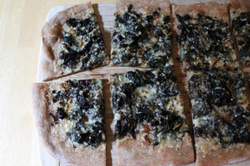 Swiss Chard and Caramelized Onion Pizza