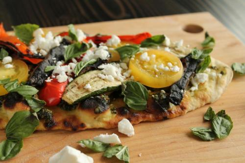 Grilled Mediterranean Flatbread Pizza with Pesto and Feta