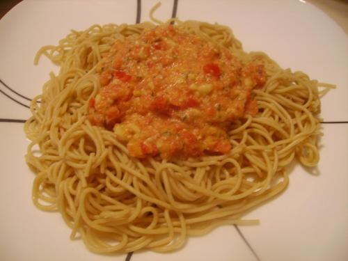 Tomato-Almond Pesto and Angel Hair
