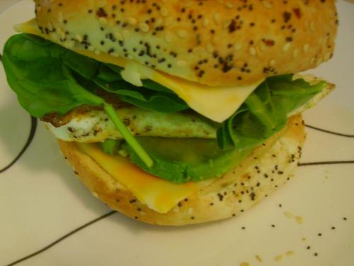 Green, Egg, and Cheese Bagel Sandwich