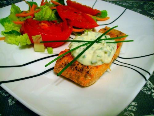 Salmon with Yogurt-Chive Sauce