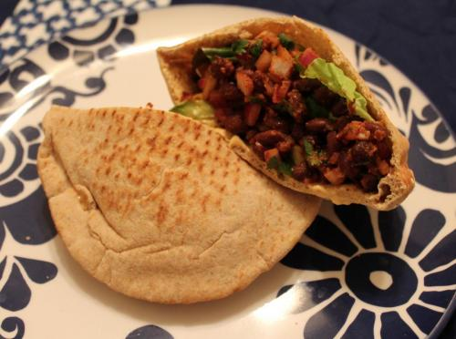 Spicy Black Bean Pita Pockets